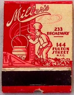 Miller's Fulton Street, NYC. #frontstriker #matchbook - To order your Business' own Branded #matchbooks or #matchboxes GoTo: www.GetMatches.com or CALL 800.605.7331 TODAY!
