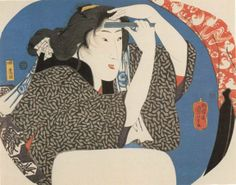 Beauty shaving her forelock. c.1844. Beauties reflected in mirrors. Utagawa KUNIYOSHI. (1797-1861)