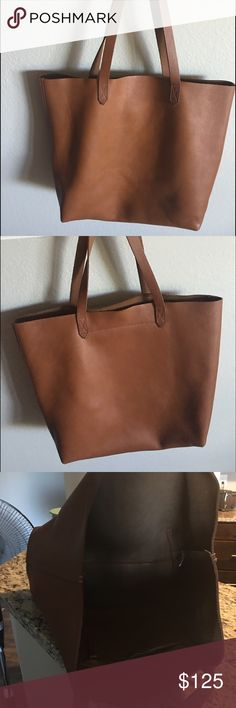 Made well Shopper Tote in Cognac Not even a year old. Perfect condition. Minimally used. Authentic. Price is firm. Madewell Bags Totes