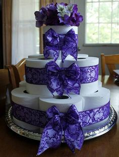 Toilet paper cake toilet paper purple cake Housewarming Housewarming gift wedding gift gifts for her gift ideas gift for students Toilet Paper Cake, Toilet Paper Roll Crafts, Bachelor Party Gifts, Bachelorette Party Gifts, Wedding Paper, Wedding Gifts, Peacock Crafts, Towel Cakes, Gift Cake