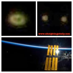 UFO Fleet Near the International Space Station In ESA Photo, Oct 2013 - In this photo taken by the ESA (European Space Agency) we can see three disk. When you add light to the photo, you see there are actually six small disks and they are flying in pairs. A rare catch finding UFOs in an ESA photo. Before you scream fake, go to the ESA link and have a look. Then add light to it.  Photo URL: http://www.esa.int/images/s119e010500,5.jpg