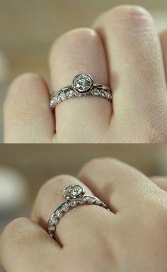 Bridal Set Diamond Engagement Ring Bezel Set by LaMoreDesign