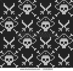 Knitted background with skulls