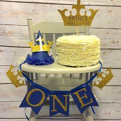 Primer paquete de cumpleaños de príncipe real, silla alta banner, corona cumpleaños sombrero, niños, primer cumpleaños, la ciudad de kansas, ducha de bebé de príncipe