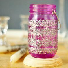Lanterne de bocal à conserves, marocain inspiré verre Magenta et motifs argent