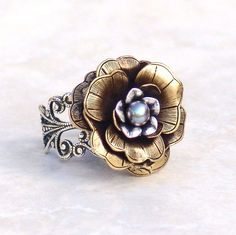 Cocktail Ring Winter Fairy Rose -Flower Mixed Metal Silver Brass Adjustable Filigree Vintage Style $32.00