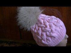 Вязание шапки с большими косами.Knitting hats with big braids - YouTube