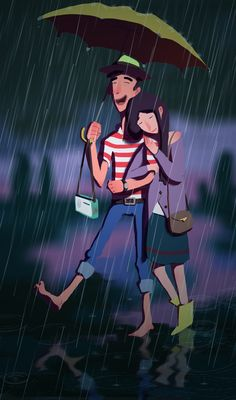 In the rain together.
