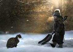 These wonderful photographs by Elena Shumilova plunge the viewer into a beautiful world that revolves around two boys and their adorable dog, cat, duckling and rabbit friends.