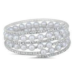 Jon Richard Pearl and diamante crystal coil bracelet- | Debenhams
