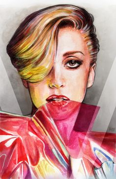 Lady Gaga V Magazine Fall 2013 by Helen Green Lady Gaga, Helen Green, The Fame Monster, Goddess Of Love, V Magazine, Fashion Sketches, Fashion Illustrations, Word Art, Fashion Art