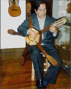 """Ernesto Cavour with his """"Little Star."""" He is one of the best charango players Sound Sculpture, Weird Vintage, Guitar Painting, Music Memes, Mandolin, Cool Guitar, Sound Of Music, Les Paul, Guitars"""