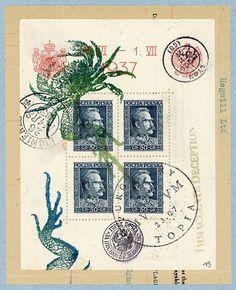 Original Monocollage  un et 1/2 crabes  env. 6 X par BANTOCKart, $100.00