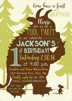 Gruffalo Birthday Invitations by bbinvitations on Etsy 2nd Birthday Parties, 4th Birthday, Kids Party Themes, Party Ideas, Gruffalo Party, Party Favor Tags, Woodland Party, Birthday Invitations, First Birthdays