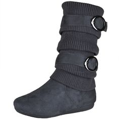 Kids Mid Calf Boots Knitted Calf and Buckle Accent Casual Shoes Gray Girls Footwear, Girls Shoes, Cute Boots, Mid Calf Boots, Casual Shoes, Calves, Little Girls, Gray, Kids