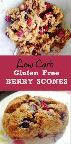 This berry scone recipe is not only gluten free and low carb, it is also delicious! Using almond flour and frozen berries it takes only minutes.