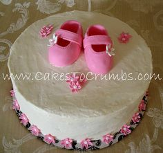 Girl Baby Shower Cake  www.CakesToCrumbs.com