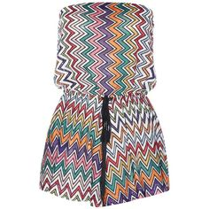 Missoni Mare Knitted Playsuit ($680) ❤ liked on Polyvore featuring jumpsuits, rompers, multicoloured, colorful rompers, colorful romper, playsuit romper and missoni mare