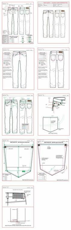 Jeans spec chart with detailed flat drawings Sewing Jeans, Sewing Clothes, Diy Clothes, Techniques Couture, Sewing Techniques, Pattern Cutting, Pattern Making, Flat Drawings, Technical Drawings