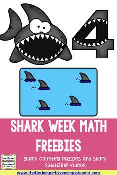 Shark Week FREEBIES! Check out this post to get your shark counting puzzles and fun shark activities for your classroom!