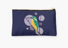 """""""Kingfisher on a bough"""" Studio Pouch by Savousepate on Redbubble #studiopouch #pouch #kingfisher #bird #circles #blue #purple #mauve #green #turquoise #orange"""