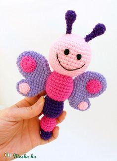 pillangó csörgő / horgolt babajáték , Baba-mama-gyerek, Játék, Baba játék, Baba-mama kellék, Horgolás, Meska