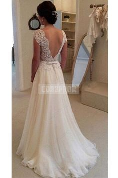 A-line Lace Scalloped Chiffon Open Back Wedding Dress - Shedressing.com