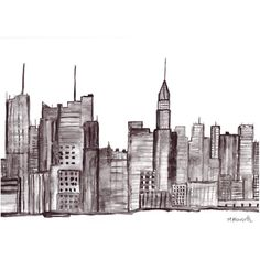 ORIGINAL watercolor painting, Manhattan New york city, NYC art, New... ❤ liked on Polyvore featuring home, home decor, wall art, new york wall art, nyc paintings, new york city skyline painting, paper wall art and water colour painting