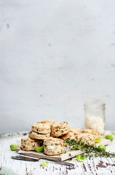 Thyme Mini Scones.  {use whole grain flour, and organic dairy, or dairy-free buttery spread and rice cream for vegans}