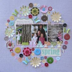 Happy Spring Layout by Jenifer Harkin using Jillibean Soup's patterned papers, pea pod parts, stickers, red and green felt blossoms, cool beans, epoxy chipboard buttons,  and baker's twine (via the Jillibean Soup blog).