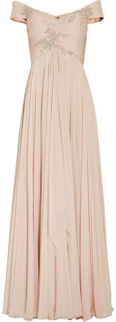 Marchesa Offtheshoulder Embellished Silkchiffon Gown in Pink (blush)