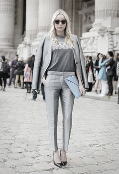 loving all the shades of grey. The star wars tee adds some serious personality.