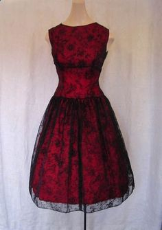 Vintage early 1960s prom dress, layered sheer flocked black chiffon over red taffeta