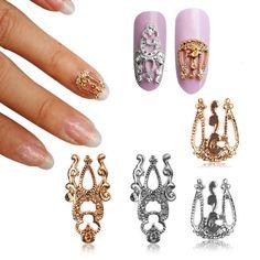 10pcs 3D DIY Alloy Hollow Metal Nail Art Tips Decoration Gold Silver Rhinestone