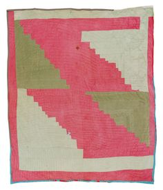 """Quilts of Gees Bend / Louella Pettway, born 1921. """"Logcabin"""" -- four-block variation, ca. 1975, corduroy, 79 x 71 inches. Louella Pettway is Linda Pettway's aunt. q052-04b.JPG"""