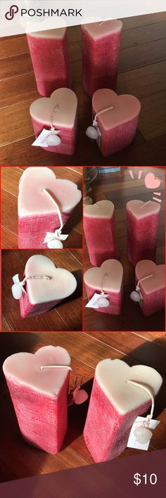 ❤️❤️heart pillar candle bundle 4 heart shaped pillar candles. NWT. Candles have some bruises and dents as soon in photos from not being packaged correctly when I purchased them. Still in great condition however. They have mild floral scent. Accessories