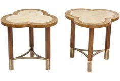 Travertine Trefoil Tables, Pair