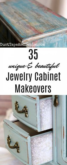 35 Unique and beautiful jewelry cabinet makeovers on DuctTapeAndDenim.com #thriftstoremakeover #jewelrycabinet #jewelrycabinetDIY #DIYjewelrycabinet #jewelrybox #jewelryboxes #jewelrycabinets #paintedcabinets #paintedfurniture