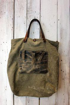 Handmade Italian Vintage Leather Tote & por LaSellerieLimited