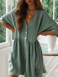 Casual Loose Button Shirt Dress For Women 2019 Summer Solid Linen Half Sleeve Pockets Vestidos Sexy V-Neck Mini Dresses Size S Color Green Simple Short Dresses, Simple Summer Outfits, Summer Fashion Outfits, Easy Outfits, Outfit Summer, Fashion Dresses, Simple Dress Casual, Emo Fashion, Womens Fashion