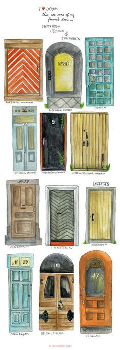 doors seen in Stockholm, Helsinki and Copenhagen - illustrations by Lisa Congdon
