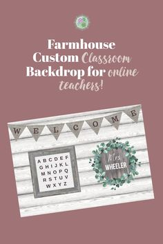 Customize your own online teaching backdrop! This beautiful farmhouse decor is printed on high quality vinyl with grommets for easy hanging! Classroom Background, Office Background, Science Classroom Decorations, Rustic Background, Online Classroom, Middle School Classroom, Vinyl Backdrops, Vinyl Banners, Simple Designs