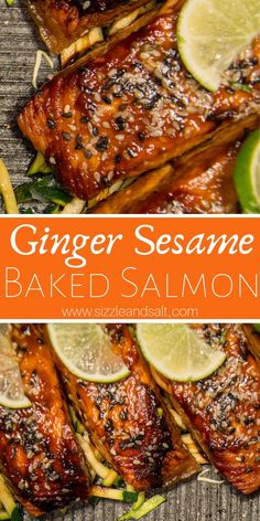 Low Carb Ginger Sesame Salmon The only low carb seafood recipe you will ever need! This Ginger Sesame Baked Salmon recipe is perfect for lunch box prep or a busy weeknight meal recipes Healthy Salmon Recipes, Beef Recipes, Cooking Recipes, Best Salmon Recipe Baked, Cake Recipes, Oven Baked Salmon, Grilled Salmon Recipes, Hamburger Recipes, Baked Fish