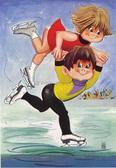 Vintage Postcard of a Ice Skating Big Eyed Couple   par PrettyPostcards