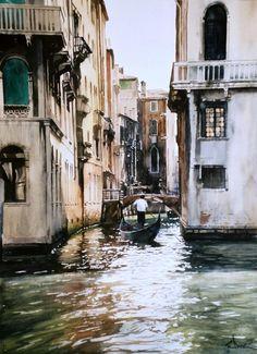 Paul Dmoch - Rio Fontego, Venise, Italie - Aquarelle 66 x 48
