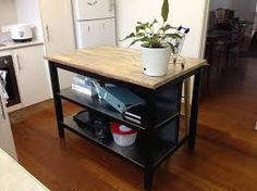 kitchen island bench on wheels with stools - Google Search Kitchen Work Bench, Kitchen Island Bench, Kitchen Cart, Stools, Bathrooms, Kitchens, Wheels, Tables, Google Search