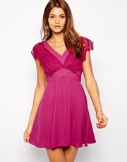Elise Ryan Lace Skater Dress With Scallop Sleeve and Low Back