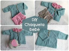 Chaqueta Shalma paso a paso Knitting For Kids, Knitting Projects, Baby Knitting, Crochet Baby, Knit Crochet, Cardigan Bebe, Knit Cardigan, Baby Cardigan Knitting Pattern, Knitting Patterns