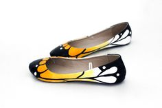 White & Gold Butterfly Ballet Flat Shoes. $75.00, via Etsy.
