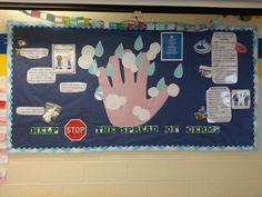 Help stop the spread of germs hand hygiene handwashing school nurse bulletin board Nurse Bulletin Board, Health Bulletin Boards, Office Bulletin Boards, Hand Hygiene Posters, School Nurse Office, School Nursing, Nursing Board, School Displays, School Health